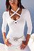 V Neck  Lace Up  Plain T-Shirts