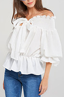 Off Shoulder  Bow  Plain  Puff Sleeve  Blouses
