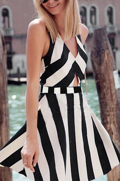Spaghetti Strap  Backless  Striped  Sleeveless Skater Dresses