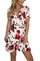 V Neck  Asymmetric Hem  Floral Printed  Short Sleeve Casual Dresses