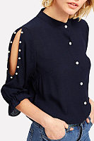 Band Collar  Beading Single Breasted  Plain  Blouses