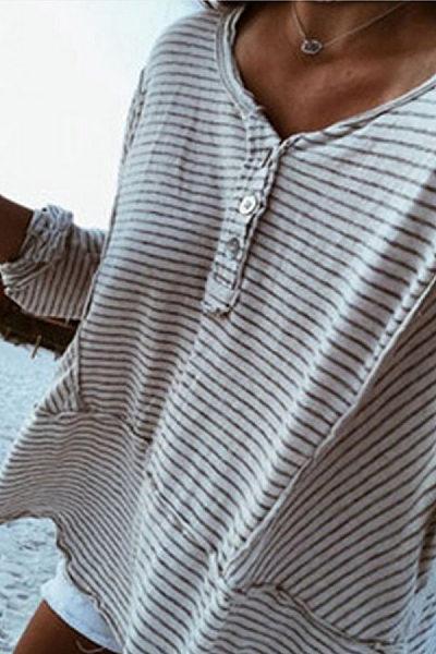 Round Neck  Decorative Buttons Patchwork  Stripes T-Shirts