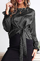 Round Neck Dots Printed Long Sleeve Lace Up Elegant Blouses
