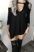 Open Shoulder Round Neck  Asymmetric Hem  Plain  Long Sleeve Casual Dresses