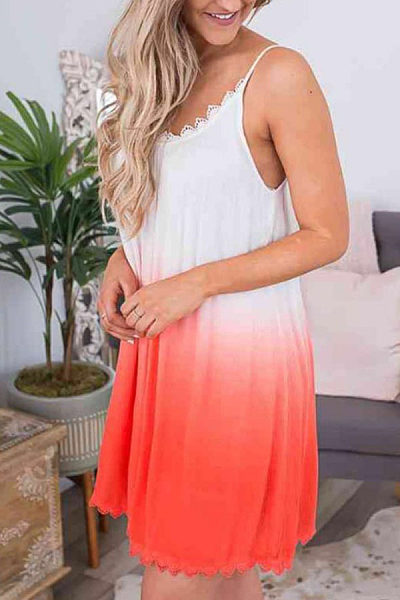 Spaghetti Strap  Gradient  Sleeveless Casual Dresses