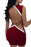 Deep V Neck  Backless Contrast Trim Bodycon Dresses