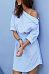 One Shoulder  Asymmetric Hem  Belt  Striped  Half Sleeve Casual Dresses