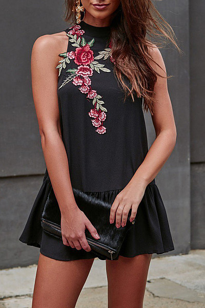 High Neck Embroidery Shift Casual Dress
