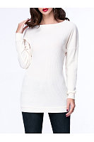 Basic Casual Boat Neck  Plain Sweater