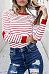 Round Neck Heart Striped T-Shirts