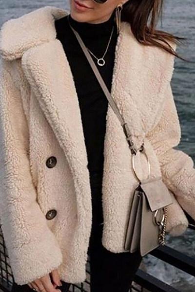 Lapel  Decorative Buttons  Plain Outerwear