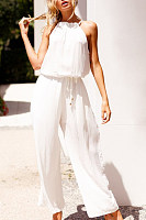 Halter  Belt Loops  Plain  Sleeveless Jumpsuits