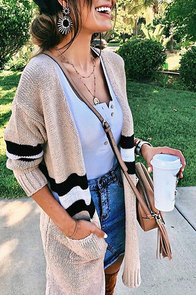 Casual Color Matching Knitting Cardigan