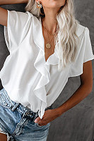 Women's Solid Color V-Neck Short-Sleeved Ruffled Top