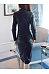 Fold-Over Collar  Plain  Blend Bodycon Dress