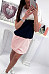 Round Neck  Backless  Color Block  Short Sleeve Casual Dresses