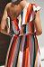 One Shoulder  Asymmetric Hem  Belt  Striped  Sleeveless Casual Dresses