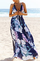 Spaghetti Strap  Drawstring  Floral Printed Maxi Dresses