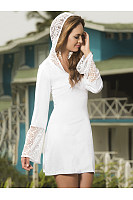 Hooded  Decorative Lace  Plain  Long Sleeve Casual Dresses