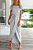Asymmetric Hem  Plain  Short Sleeve Maxi Dresses