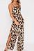 Spaghetti Strap  Slit  Leopard Printed  Sleeveless Jumpsuits