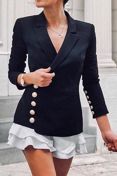 Fashion V Neck  Pure Colour Double-Breasted Blazer