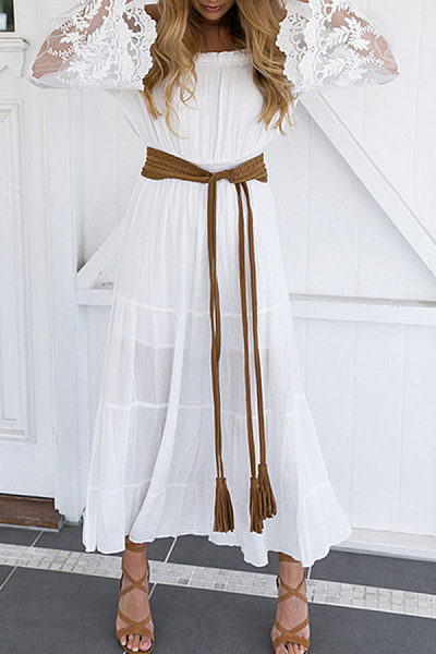 Off Shoulder  Patchwork  Plain  Bell Sleeve Maxi Dresses