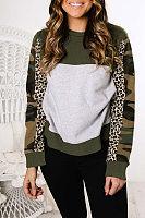 Casual Camouflage Leopard Print Colorblock Long Sleeve Sweatshirt