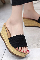 Plain  High Heeled  Velvet  Peep Toe  Date Outdoor Wedge Sandals