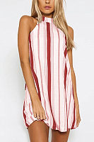 Halter  Backless  Striped  Short Sleeve Casual Dresses