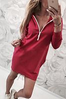 Hooded  Zipper  Plain  Long Sleeve Bodycon Dresses