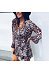 V Neck Long Sleeve Leopard Printed Casual Dress