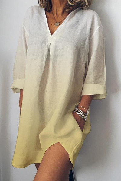 V Neck Gradient Three-Quarter Sleeve Casual Dresses