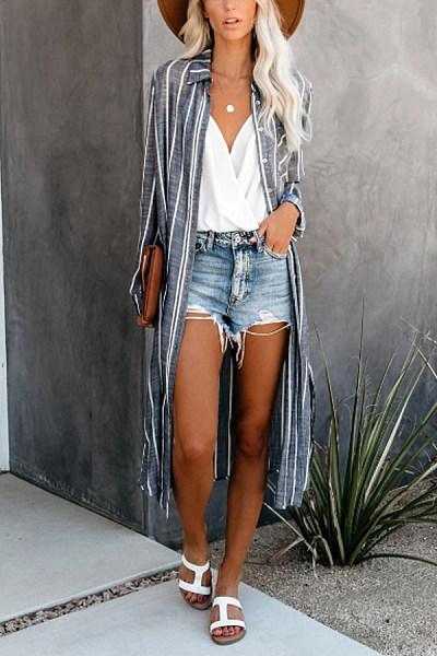 Women Casual Stripe Cardigans