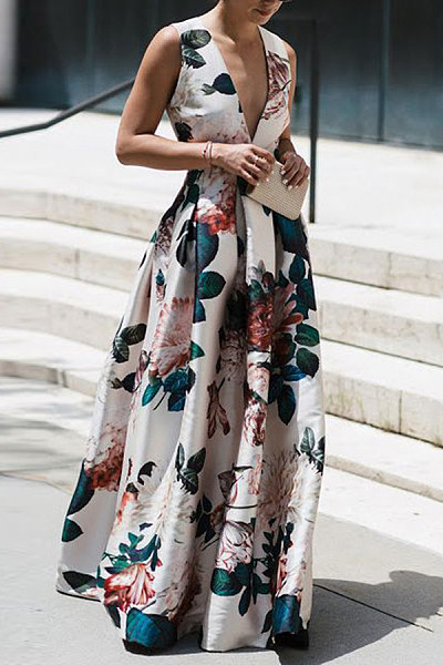 Stylish Floral Print Sleeveless Maxi Dresses