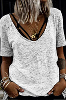 V Neck Loose Fitting Pure Color T-Shirts