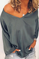 Casual Solid Color V-Neck Strapless Long-Sleeved Loose T-Shirt