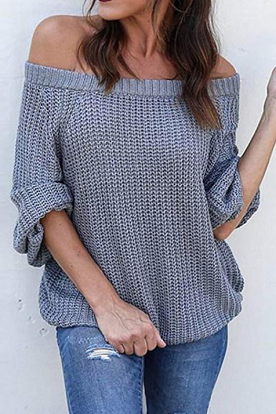 Off Shoulder  Plain  Basic Sweaters