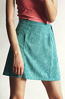 Cute Pure Colour Polyester Fiber A-Line Skirt