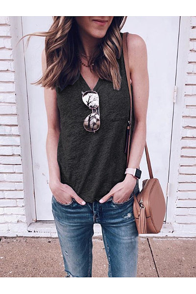 Casual V-Neck Pocket Sleeveless T-Shirt