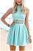 Open Shoulder Patchwork Hollow Out Flared Sleeveless Skater Dresses
