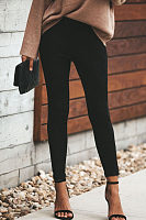 Zipper  Plain   Elegant Pants