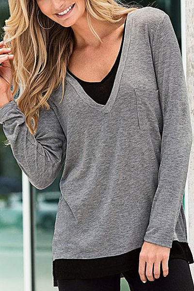 Casual V-Neck Solid Color Long-Sleeved Stitching Fake Two-Piece T-Shirt