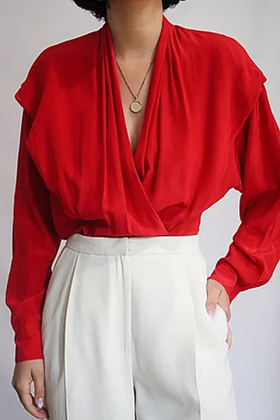 Casual Solid Color Pleated Button Long Sleeve Shirt
