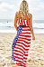 Strapless  Elastic Waist  Printed  Sleeveless Maxi Dresses