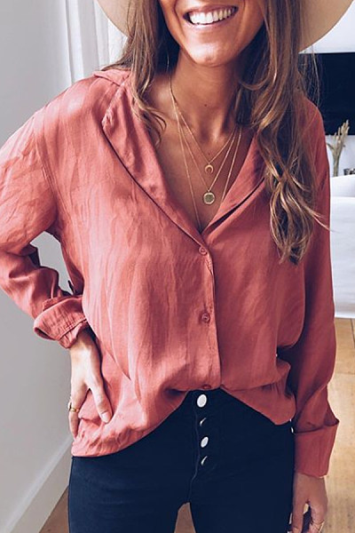 Casual Turndown Collar Pure Colour Single-Breasted Blouses