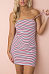 Spaghetti Strap  Belt  Striped  Sleeveless Bodycon Dresses