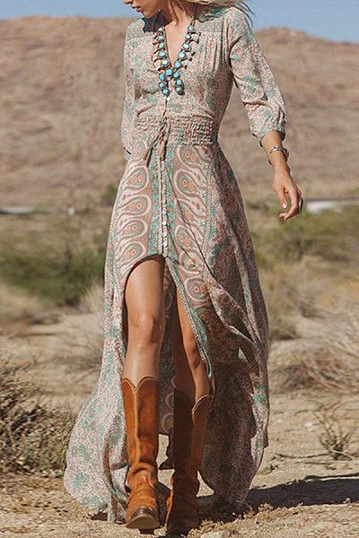 Deep V Neck  Slit  Belt Loops  Printed  Lantern Sleeve  Three Quarter Sleeve Maxi Dresses