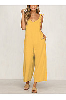 Casual Pure Colour Sleeveless Belted Loose Jumpsuits