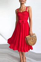 Fashion Sling Ruffled Lace-Up Women's Dress